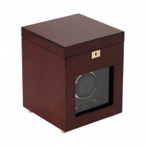 WOLF Savoy Men's Single Watch Winder w/ Storage Box Glass Cover Key Lock 2 Colors