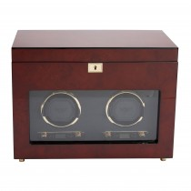 Men's Double Watch Winder & Storage Box Glass Cover Key Lock 2 Colors