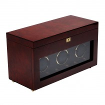 Men's Triple Watch Winder w/ Storage Travel Case Glass Cover Key Lock