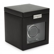 WOLF Viceroy Men's Single Watch Winder 3 Timepiece Storage Faux Leather Glass Door