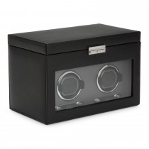 Men's Double Watch Winder 4 Timepiece Storage Faux Leather Glass Door