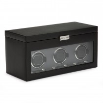 Men's Triple Watch Winder 6 Timepiece Storage Faux Leather Glass Door