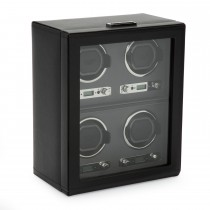 Wolf Viceroy Men's Watch Winder for 4 Timepieces in Faux Leather w/ Glass Door Lock