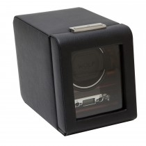 Men's Wooden Faux Leather Single Watch Winder Box w/ Key Lock Closure