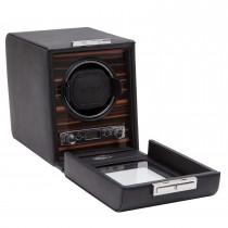 WOLF Roadster Men's Wooden Faux Leather Single Watch Winder Box w/ Key Lock Closure