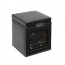 Wolf Roadster Men's Faux Leather Wood Single Watch Winder Box w/ Storage, Key Lock