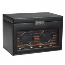 Men's Faux Leather Double Watch Winder Storage Travel Case w/ Key Lock
