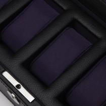 WOLF Windsor Five Piece Watch Box in Black/Purple Faux Leather