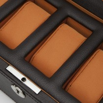 WOLF Windsor Five Piece Watch Box in Brown/Orange Faux Leather