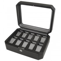 Wolf Designs Ten Piece Watch Box in Black Faux Leather