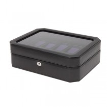 WOLF Windsor Ten Piece Watch Box in Black/Purple Faux Leather