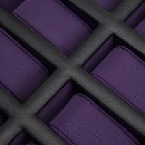 WOLF Windsor Ten Piece Watch Box in Black/Purple Faux Leather