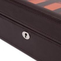 WOLF Windsor Ten Piece Watch Box in Brown/Orange Faux Leather