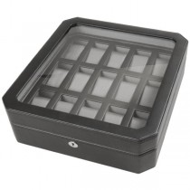 WOLF Windsor Fifteen Piece Watch Box in Black Faux Leather