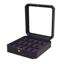 WOLF Windsor Fifteen Piece Watch Box in Black/Purple Faux Leather