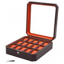 WOLF Windsor Fifteen Piece Watch Box in Brown/Orange Faux Leather