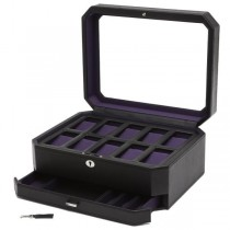 WOLF Windsor Ten Piece Watch Box w/ Drawer in Black/Purple Faux Leather