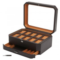 WOLF Windsor Ten Piece Watch Box w/ Drawer in Brown/Orange Faux Leather