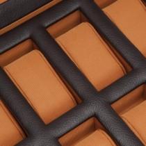 WOLF Windsor Ten Piece Watch Box w/ Drawer in Brown/Orange Faux Leather