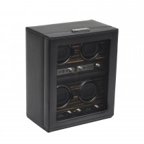 Men's 4 Watch Winder in Faux Leather w/ Glass Cover & Key Lock Closure
