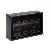 Men's 8 Watch Winder in Faux Leather w/ Wood Veneer, Glass & Key Lock