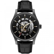 Caravelle Men's Automatic Collection Black Leather Strap Watch