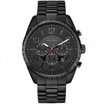 Caravelle Men's Black & White Collection Black Stainless Steel Chronograph Watch