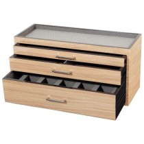 Wooden Modular 3 Drawer Dresser Valet & Watch Storage Box in 3 Colors