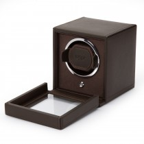 Wolf Designs Cub Single Watch Winder w Cover in Brown