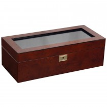 WOLF Savoy Glass Top 5 Compartment, Wooden Watch Box w/ Key Lock 2 Colors