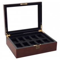 Wolf Savoy Men's Glass Top, 10 Compartment Wooden Watch Box w/ Key Lock 2 Colors