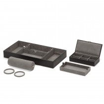 WOLF Howard Valet Tray w/ Roll & Travel Cufflink Case