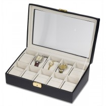 Elegant Calfskin Leather Watch Box with Glass Top Holds 10 Watches