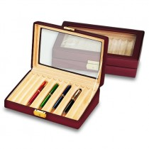 Collector's Pen Box & Display Case w/ Glass Top Holds 12 Pens