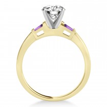 Tapered Baguette 3-Stone Amethyst Engagement Ring 14k Yellow Gold (0.10ct)