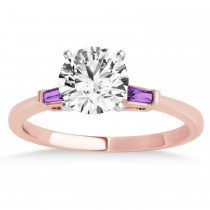 Tapered Baguette 3-Stone Amethyst Engagement Ring 18k Rose Gold (0.10ct)