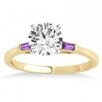 Tapered Baguette 3-Stone Amethyst Engagement Ring 18k Yellow Gold (0.10ct)