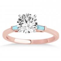 Tapered Baguette 3-Stone Aquamarine Engagement Ring 14k Rose Gold (0.10ct)