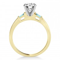 Tapered Baguette 3-Stone Aquamarine Engagement Ring 14k Yellow Gold (0.10ct)