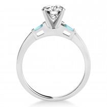 Tapered Baguette 3-Stone Aquamarine Engagement Ring 18k White Gold (0.10ct)