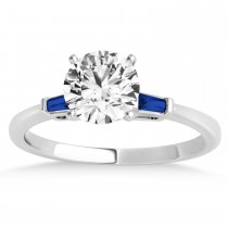 Tapered Baguette 3-Stone Blue Sapphire Engagement Ring 14k White Gold (0.10ct)