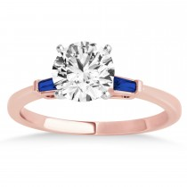 Tapered Baguette 3-Stone Blue Sapphire Engagement Ring 18k Rose Gold (0.10ct)