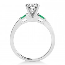 Tapered Baguette 3-Stone Emerald Engagement Ring 14k White Gold (0.10ct)