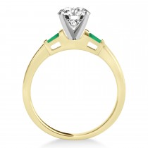 Tapered Baguette 3-Stone Emerald Engagement Ring 14k Yellow Gold (0.10ct)