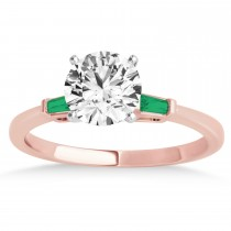 Tapered Baguette 3-Stone Emerald Engagement Ring 18k Rose Gold (0.10ct)