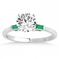 Tapered Baguette 3-Stone Emerald Engagement Ring 18k White Gold (0.10ct)