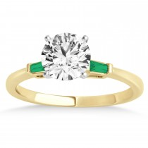 Tapered Baguette 3-Stone Emerald Engagement Ring 18k Yellow Gold (0.10ct)
