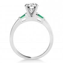 Tapered Baguette 3-Stone Emerald Engagement Ring Palladium (0.10ct)