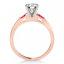 Tapered Baguette 3-Stone Ruby Engagement Ring 14k Rose Gold (0.10ct)