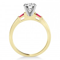 Tapered Baguette 3-Stone Ruby Engagement Ring 14k Yellow Gold (0.10ct)